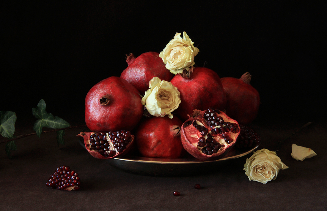 Still Life 1, Dry Roses & Pomegranate