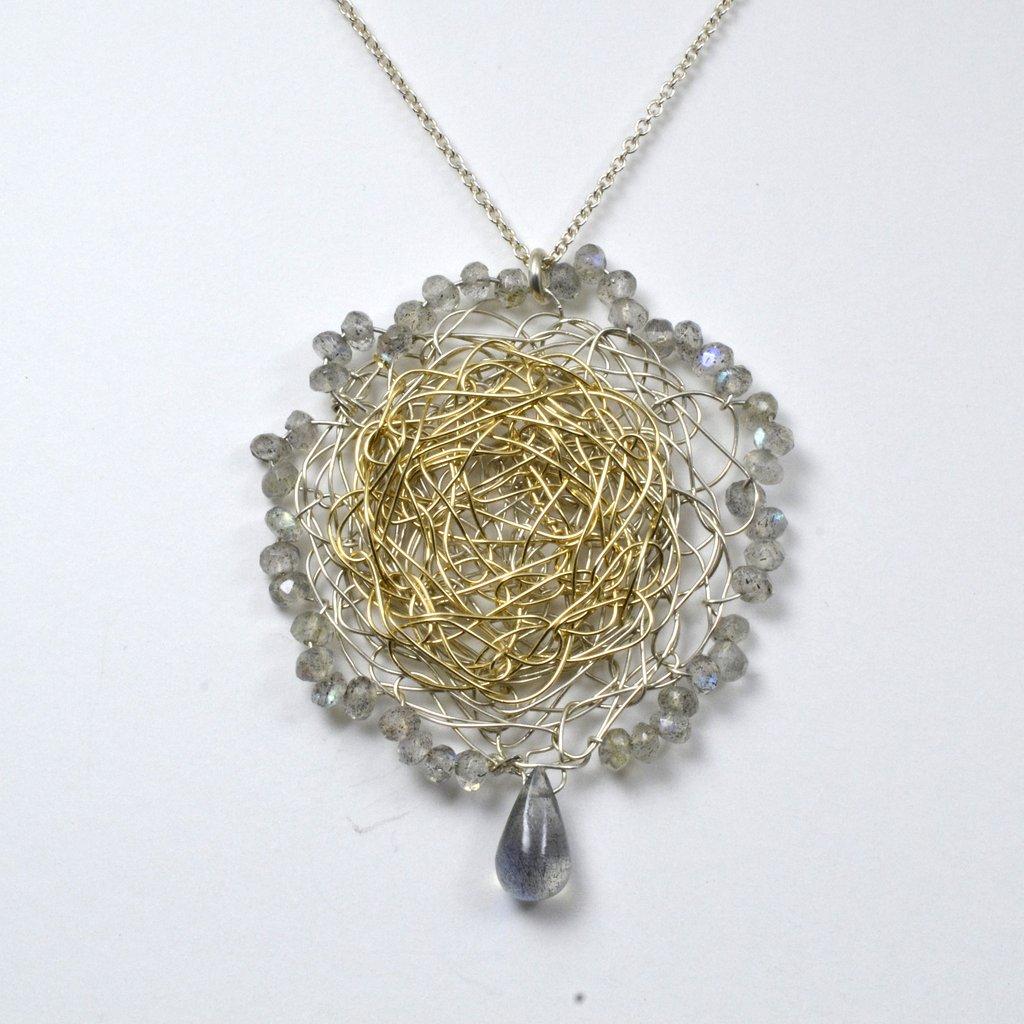 Susan Freda Collection | Spun, Reversible Pendant with Aquamarine