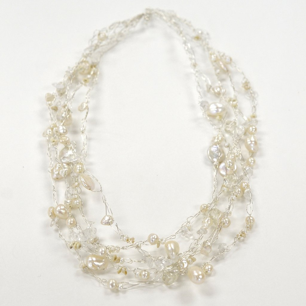 Susan Freda | Cream colored Cloud Necklace with Freshwater Pearls and Quartz
