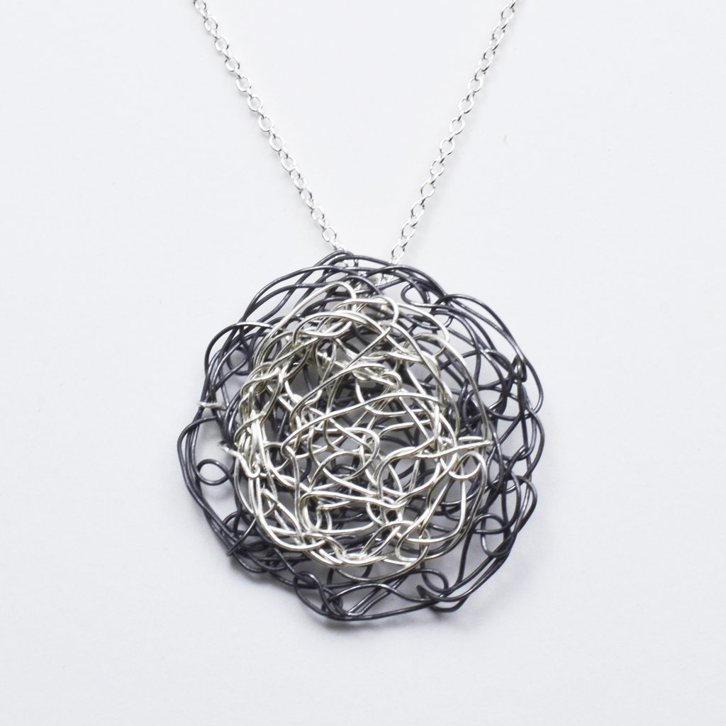 Spun Layer Pendant in Silver and Oxidized Silver  | Susan Freda Collection