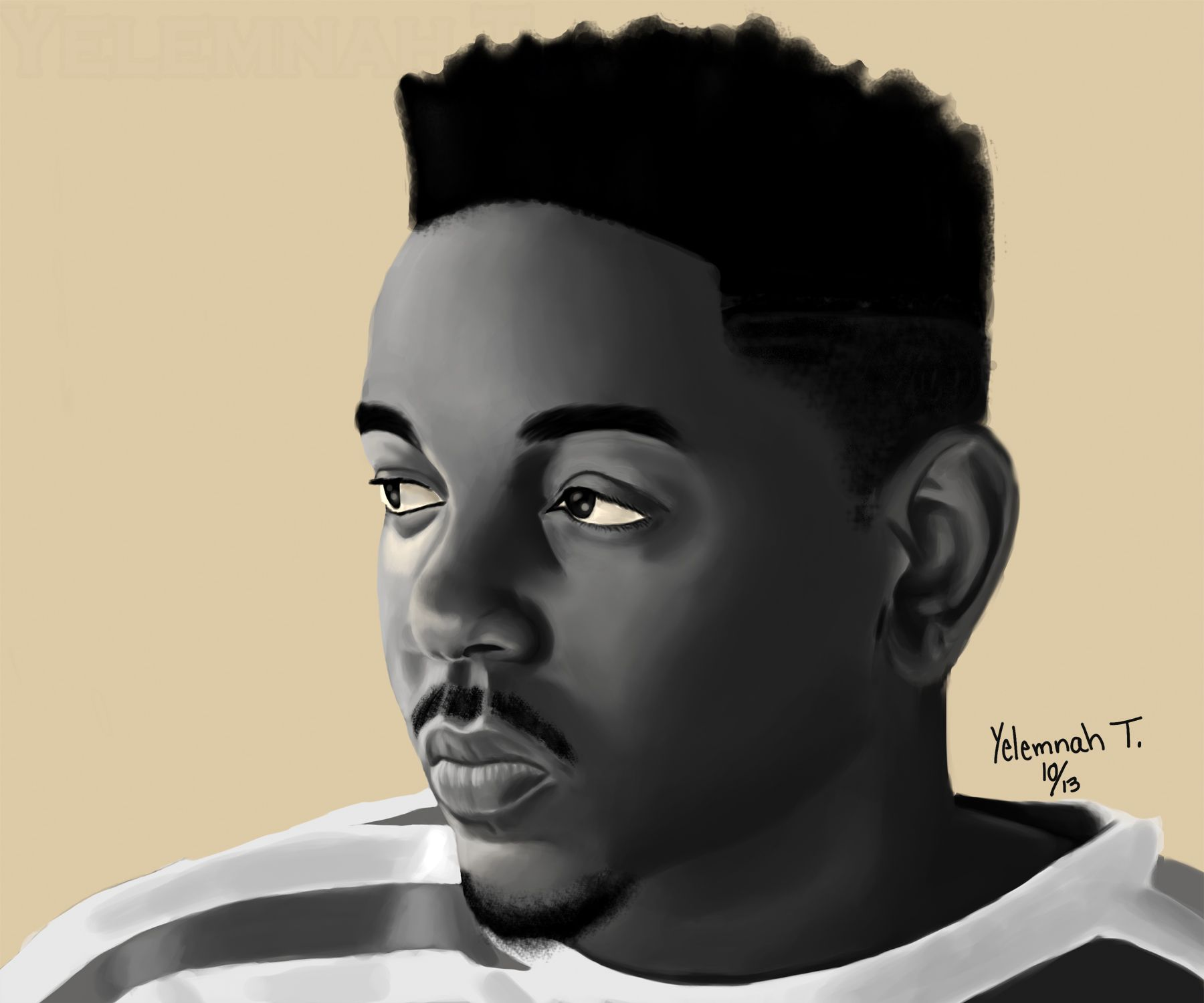 Kendrick Lamar by Yelemnah Tessema, Digital,  28 x  22 in.,  2013