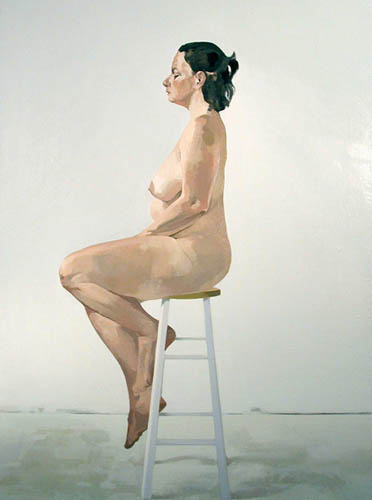 Nude on White Stool in Profile