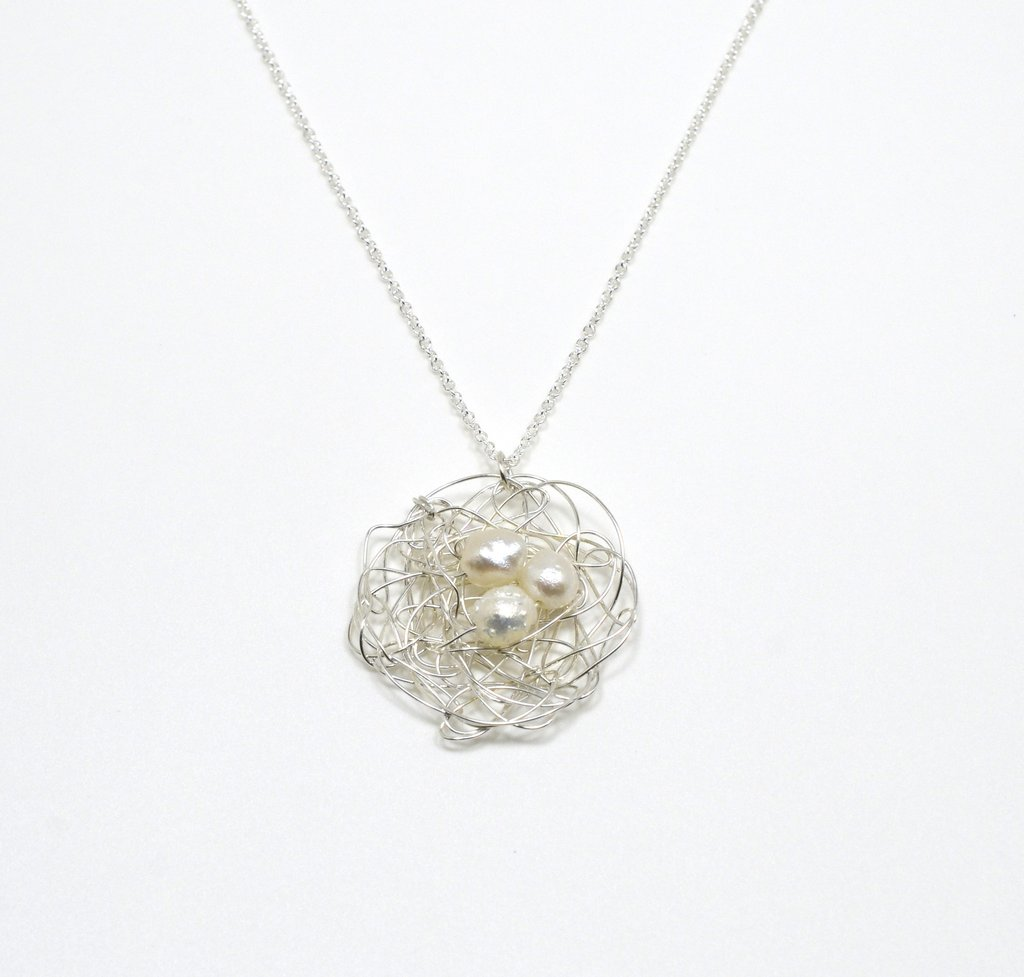 Spun Silver Nest Pendant with White Pearls  | Susan Freda Collection