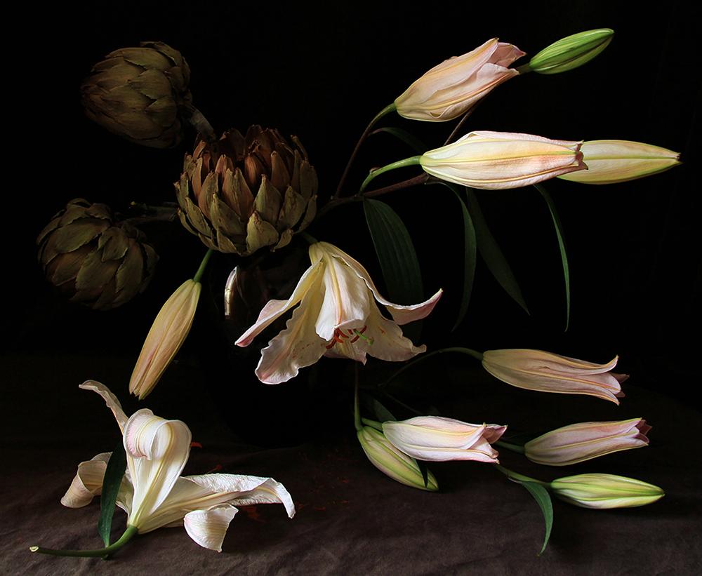 Still Life 1, Lilies & Artichoke