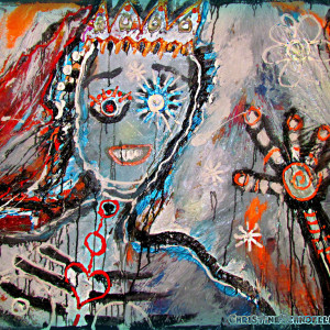 Christine Schnoell,  The Snow Queen / 59.1 x 39.4 in., Acrylic, Plastic-foil, pigments on canvas