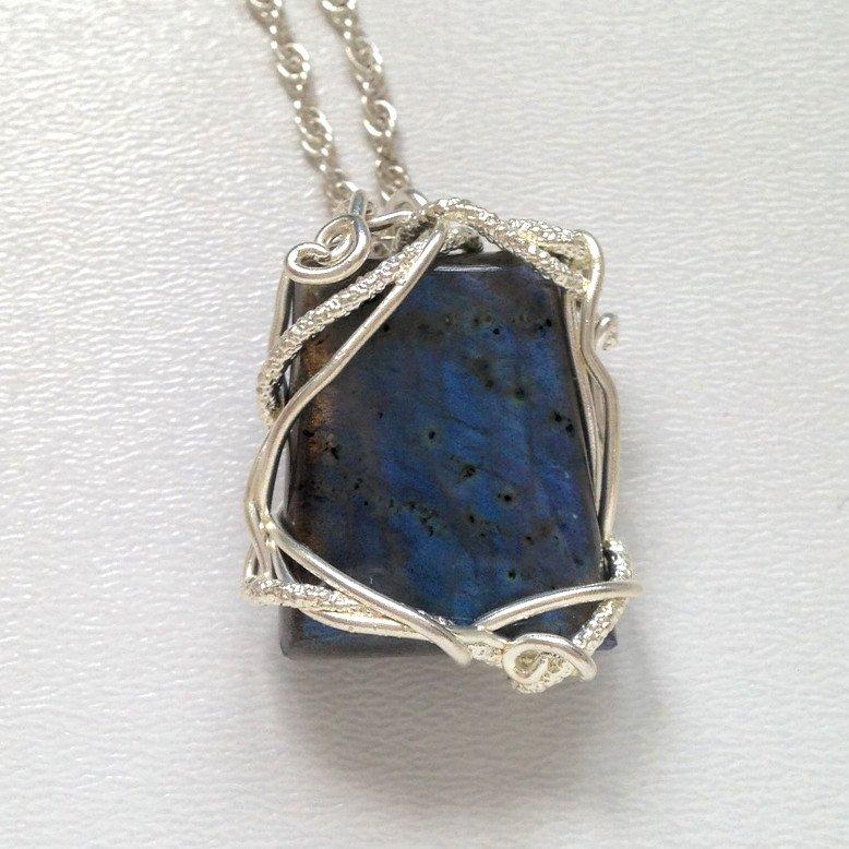 Susan Freda Collection |  Silver Line Pendant with Labradorite