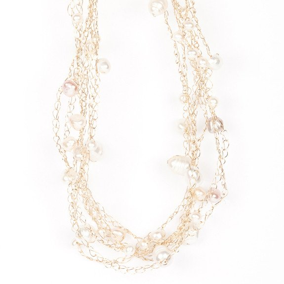 Susan Freda | Cloud Necklace with White, Pink, and Champagne Freshwater Baroque Pearls