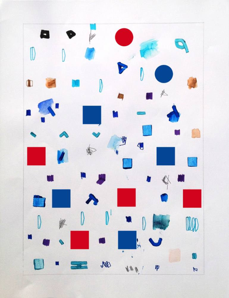 Abstract minimalist painting on paper Gomms 7