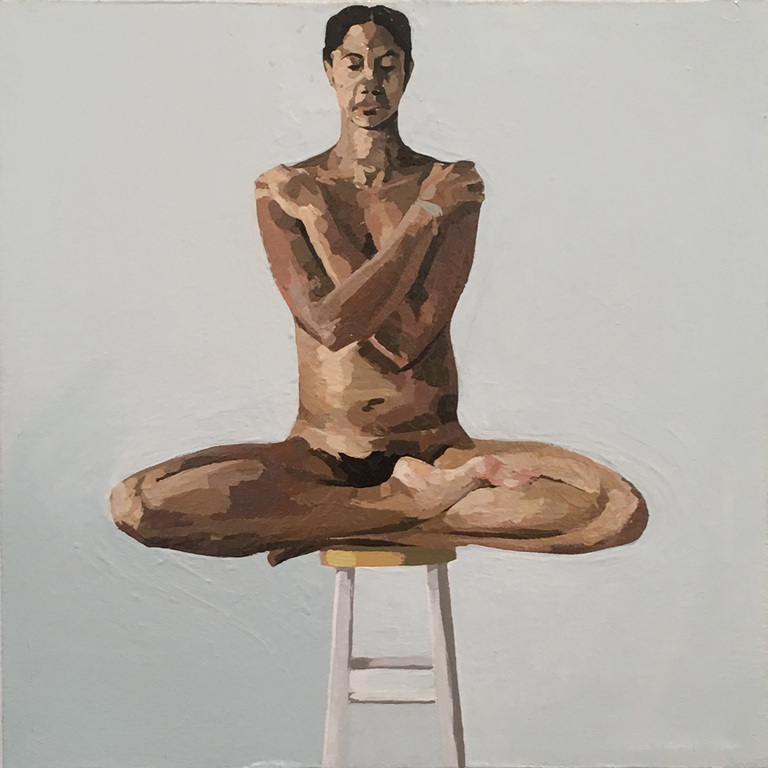 Nude on Stool with Arms and Legs Crossed