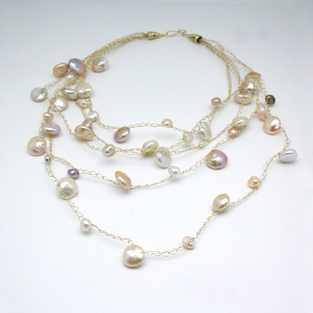Susan Freda | Graduated Cloud Necklace with Pink and Peach Baroque Freshwater Pearls