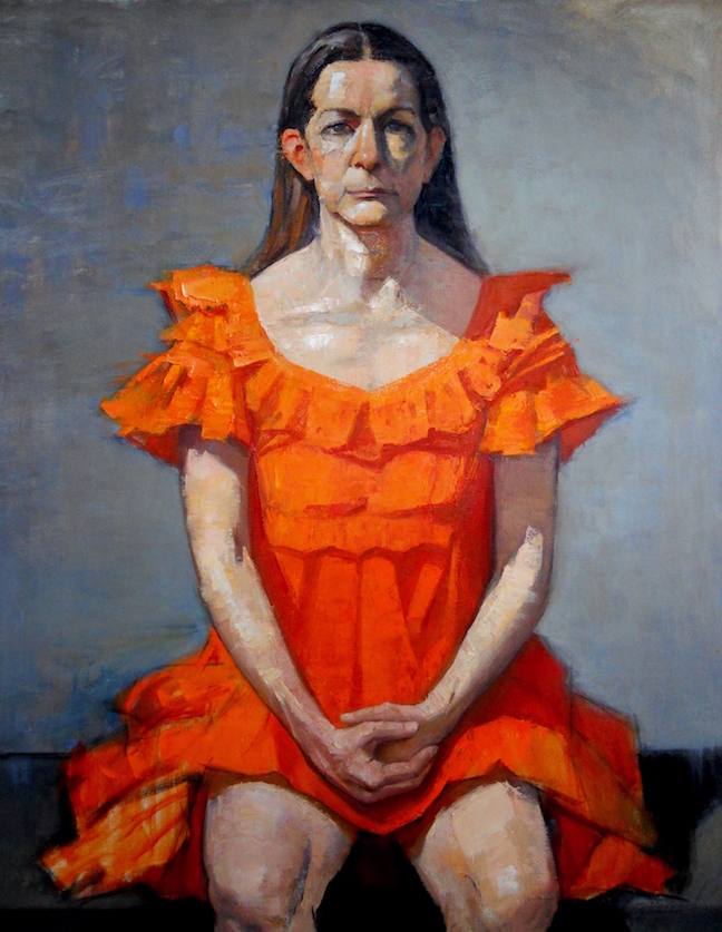 Woman in Orange Dress
