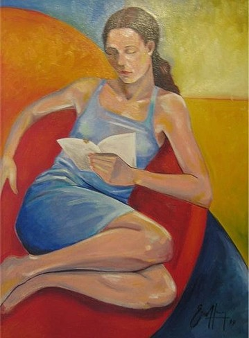 "Michael Escoffery, ""Woman reading"""