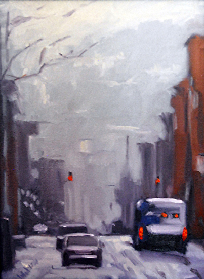"Main Street Over The Rhine by Paul Wolven Oil on Canvas 36"" x 12"""