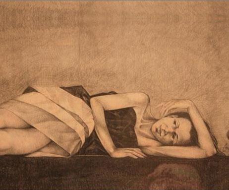 "Michael Escoffery, ""woman reclining"""