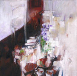 "Joseph Hutchinson INTERIOR WITH ORCHIDS, 36""x36"", Oil on canvas, framed, 2012"