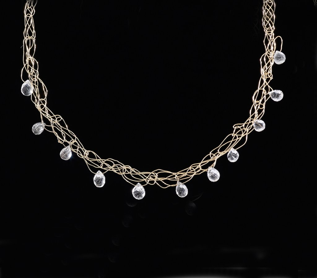Susan Freda | Spun Necklace in 14 Kt Gold Filled Wire with Tourmalated Quartz Briolettes