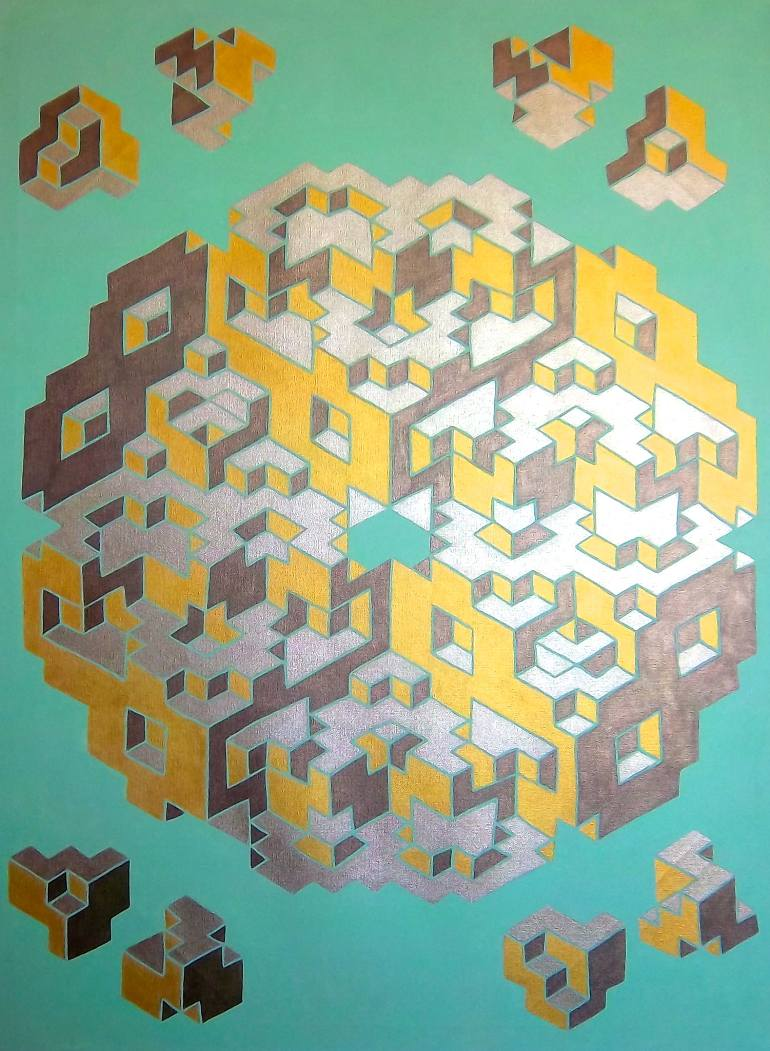 Geometric Deception: Canvas Painting Series