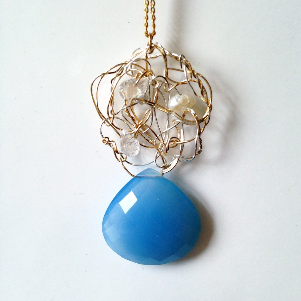 Susan Freda Collection | Chalcedony and Freshwater Pearls Pendant