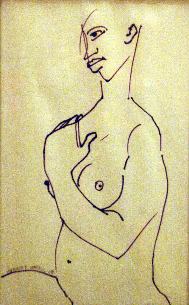 Robert Harris Nude (2008) Marker on paper 14 7/8 x 10 7/8 Frame 10 1/2 x 6 1/2 Mat window