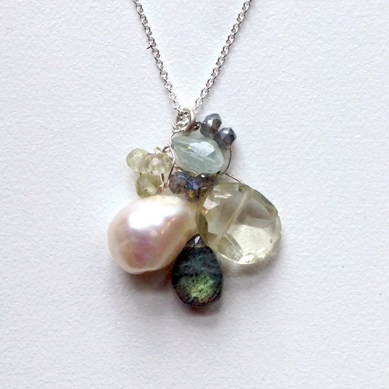 Susan Freda Collection | Cluster Pendant with Freshwater Pearl Citrine and Labradorite