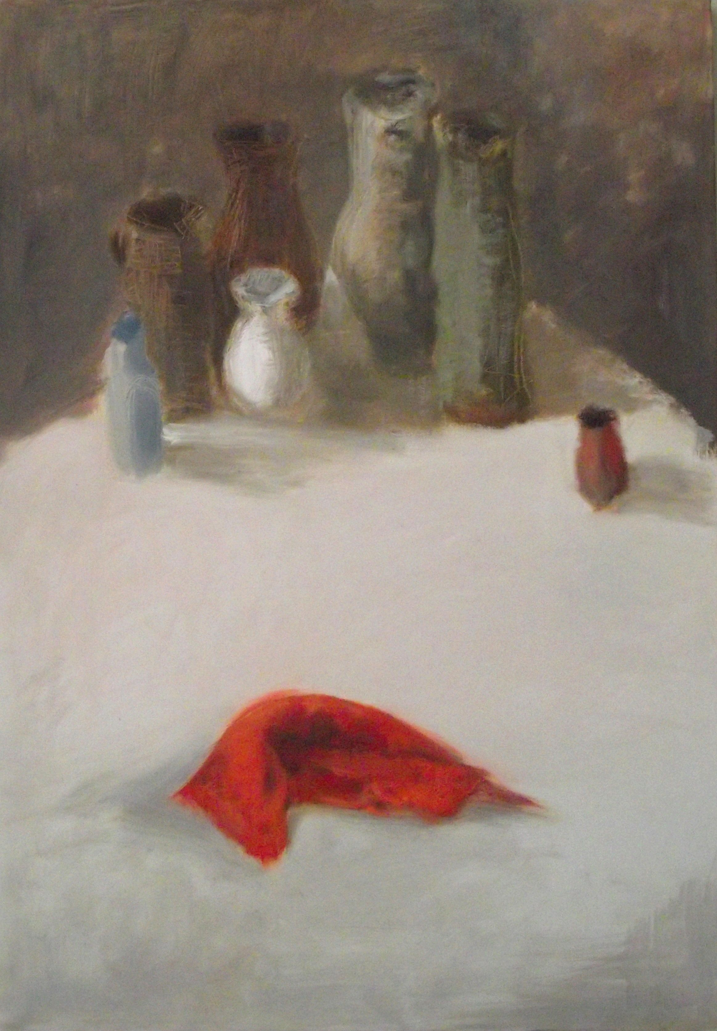 """Still life with a red cloth"""