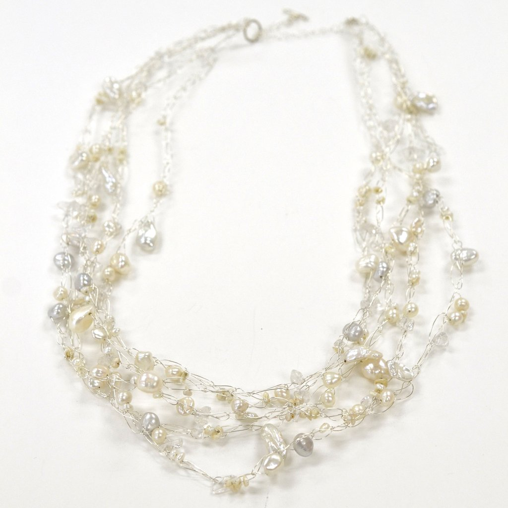 Susan Freda | Cloud Necklace with Off-white Pearls and Quartz