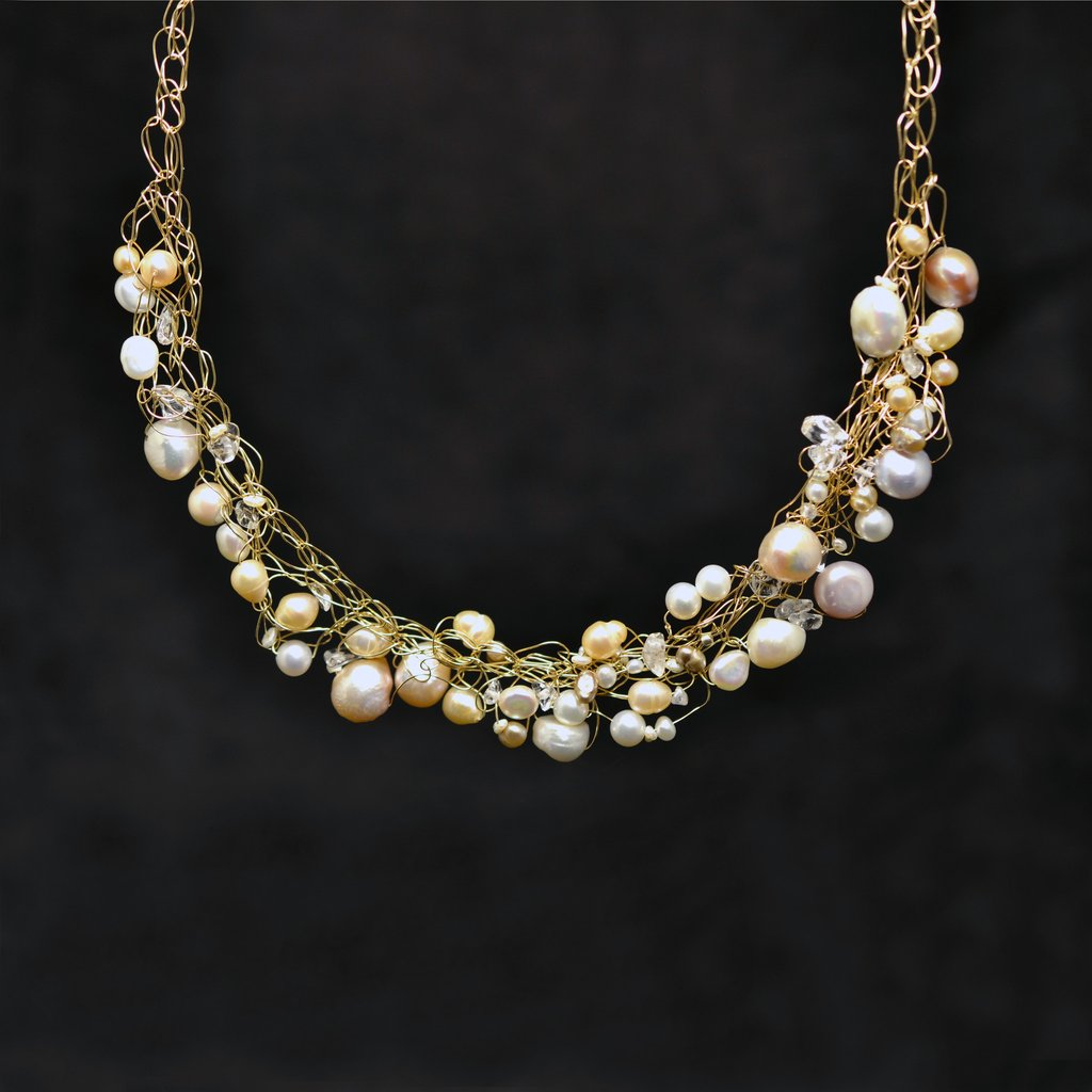 Susan Freda | Woven Wire Necklace with Freshwater Pearls