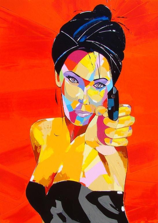 Christophe Heymann, Flingueuse S – Chap, Acrylic on canvas, 39.4 x 29.5 x 1.2 in