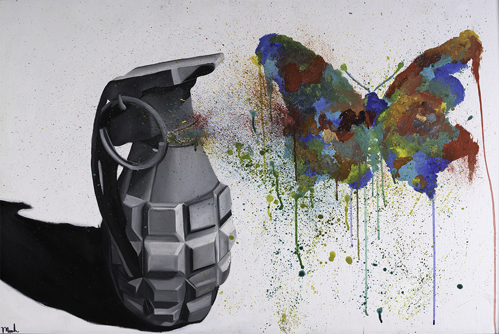 Grenade with butterfly