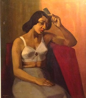 Raymond P. Harris WOMAN IN BRA, 27 5/8 x 24 1/8 in, Oil on canvas 1965, United States