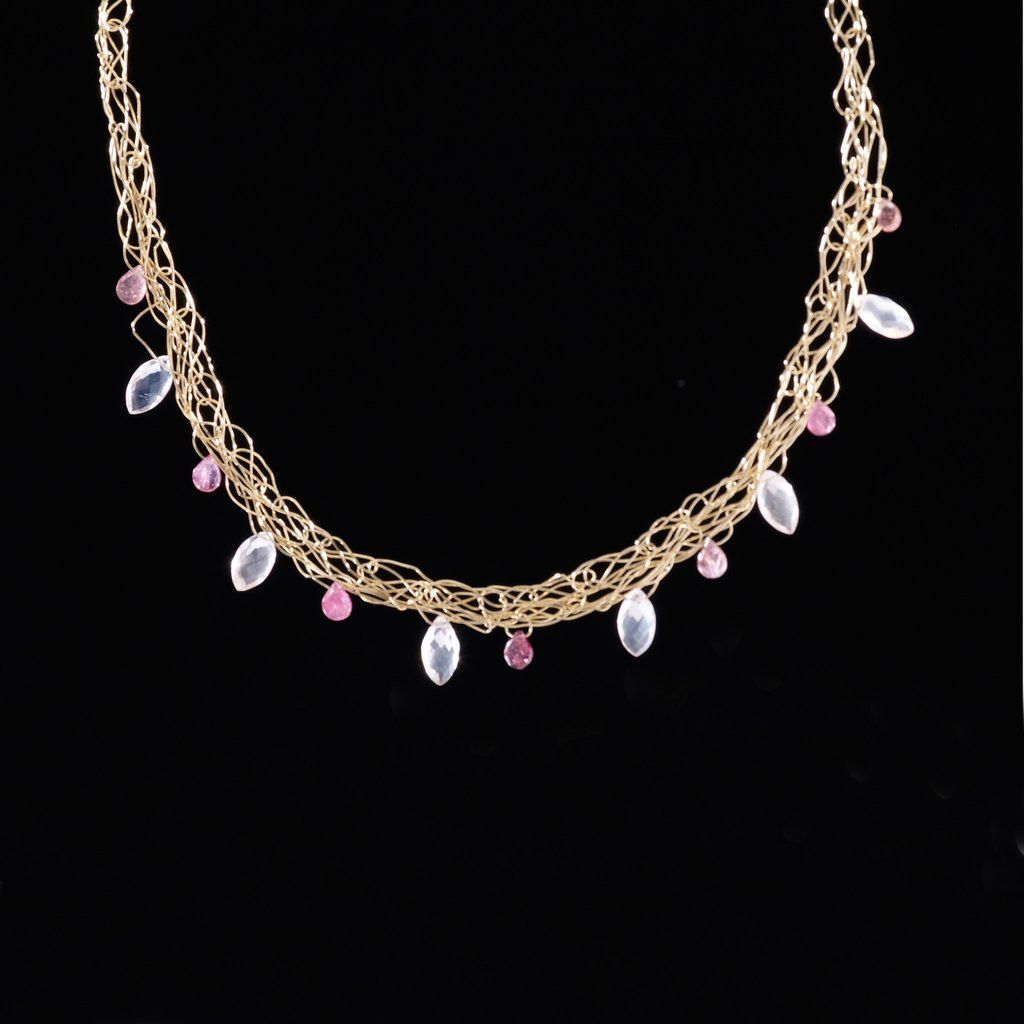 Susan Freda |  Spun Necklace in 14 Kt Gold Filled Wire with Rose Quartz and Tourmaline Briolettes