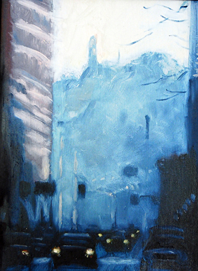 "Ninth Street by Paul Wolven Oil on Canvas 36"" x 12"""