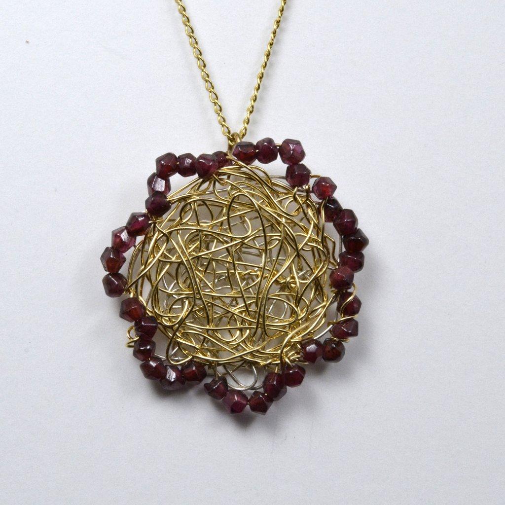 Susan Freda Collection | Garnet Edged Spun Pendant