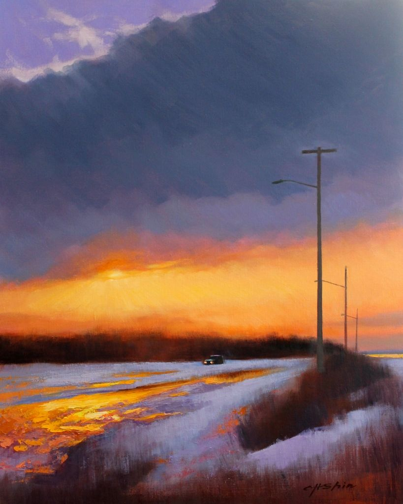 "Chin H. Shin """"Winter Sunset"""