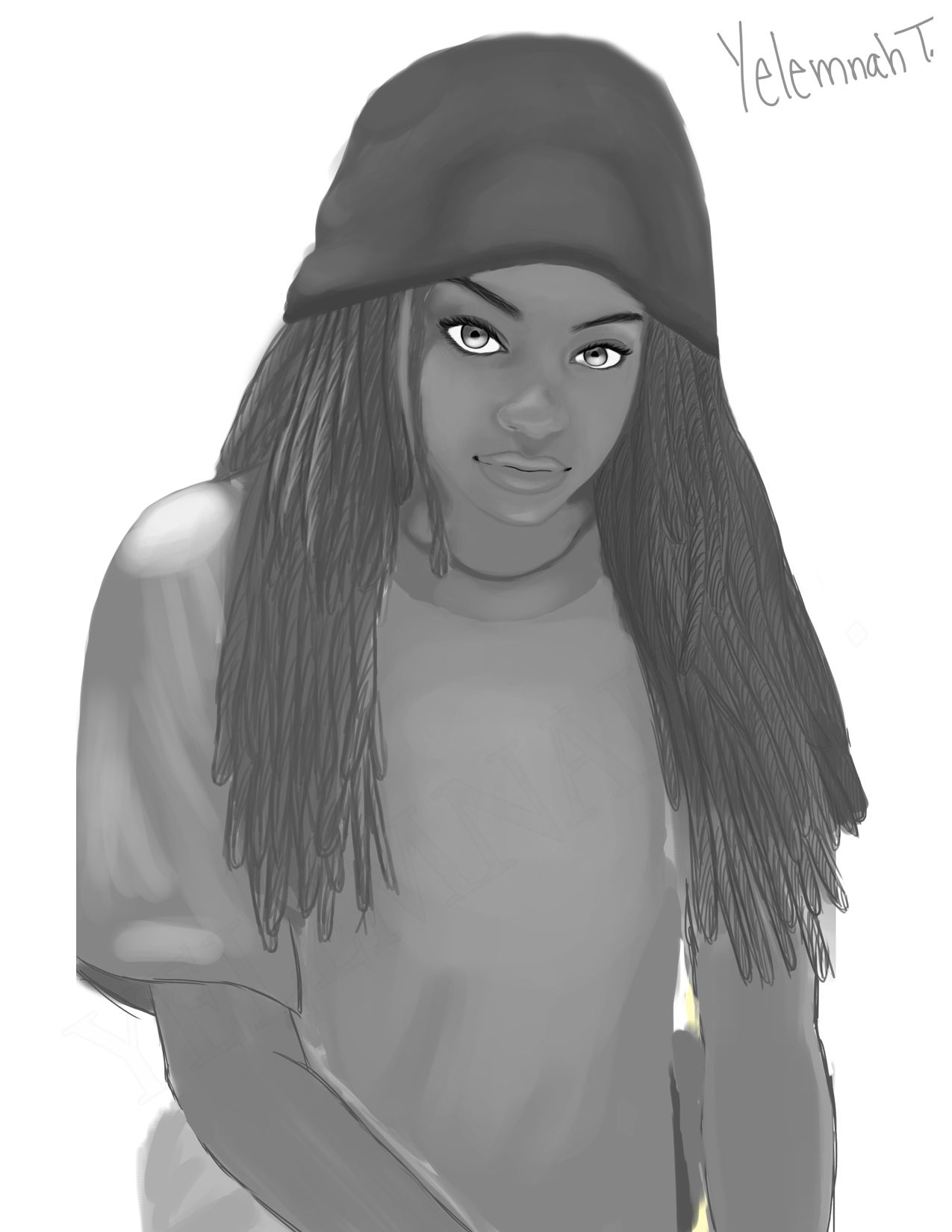 Yelemnah Tessema Those Eyes (Black and White) 28 x 28in. Digital, 2013