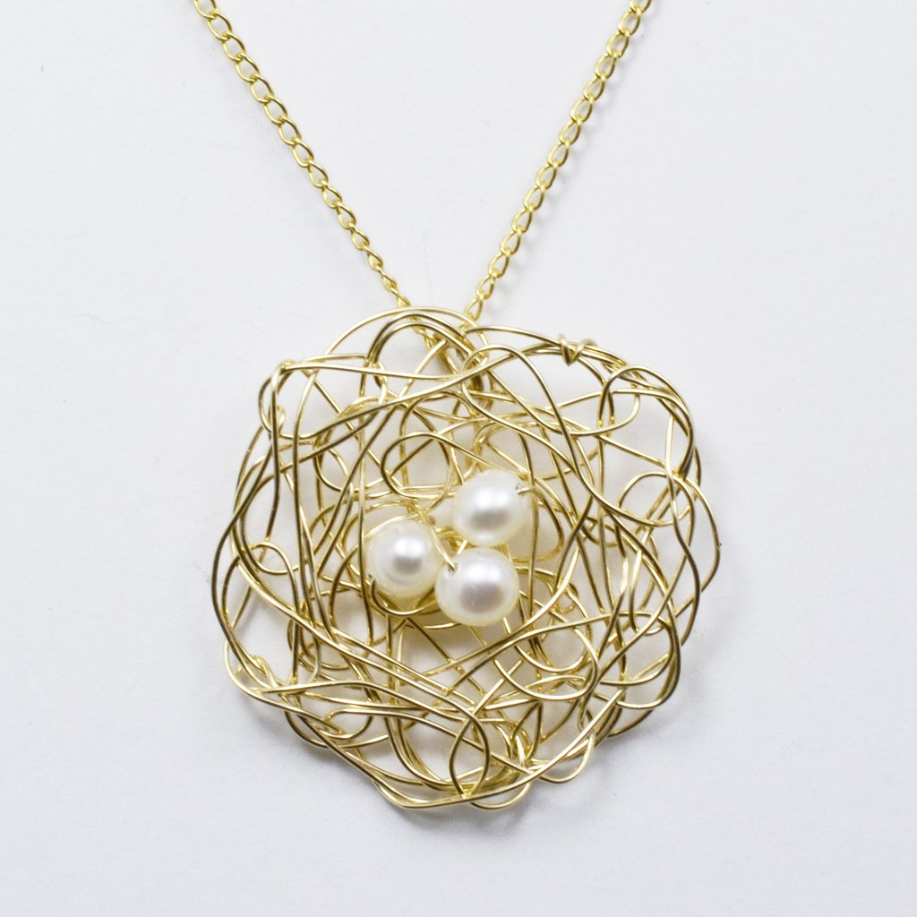 Spun Nest Pendant with White Pearls  | Susan Freda Collection