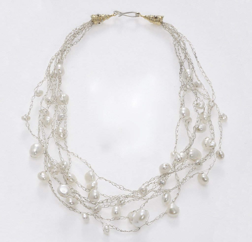Susan Freda | Sterling Silver Cloud Necklace with Mixed Sized White Pearls
