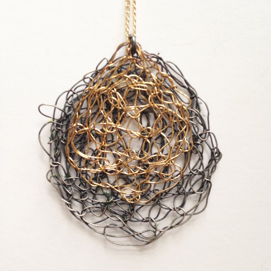Oxidized Silver and Gold-filled Spun Wire Pendant | Susan Freda Collection