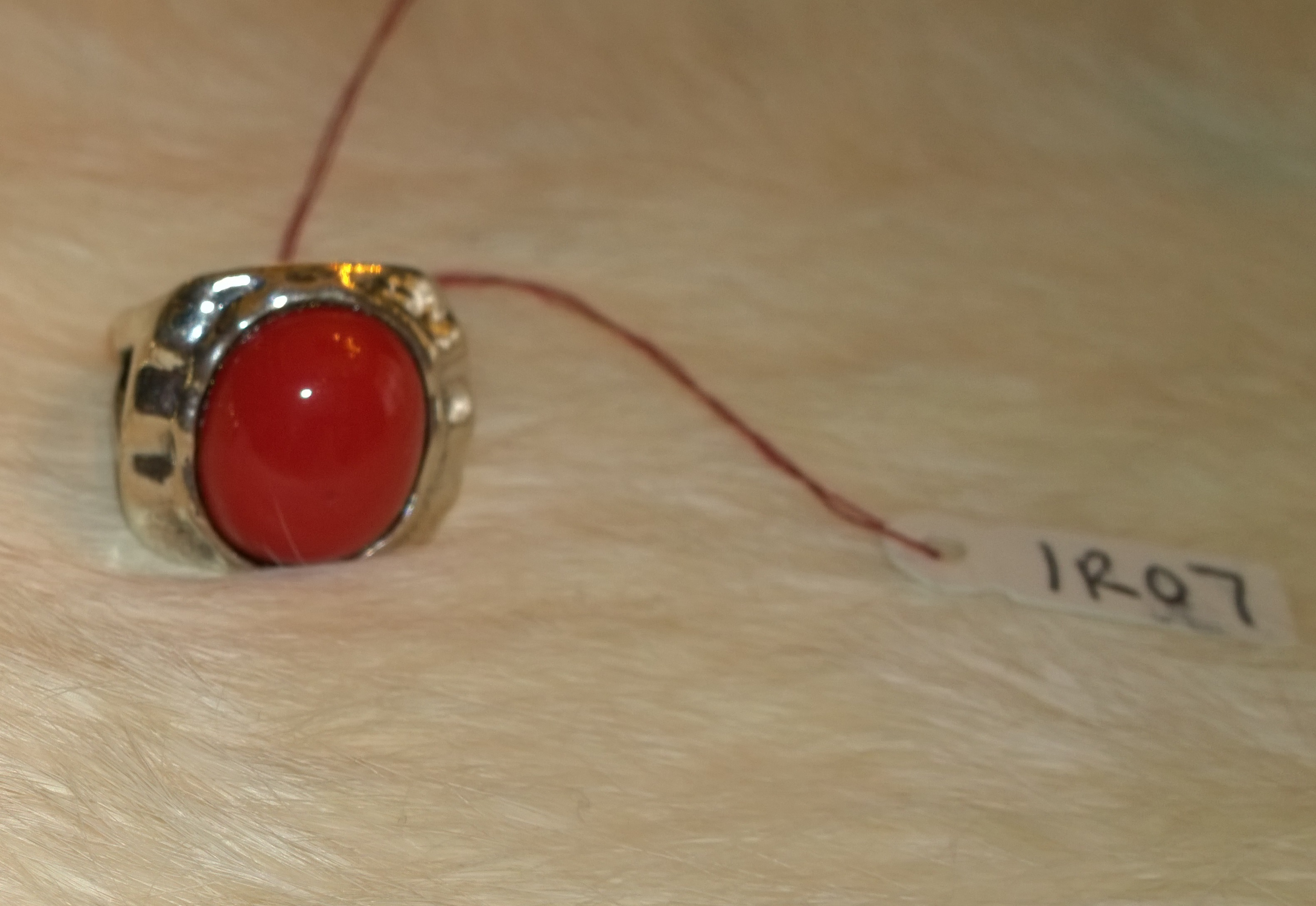 Coral Red Ring Signed by Designer 1R07 Size 7