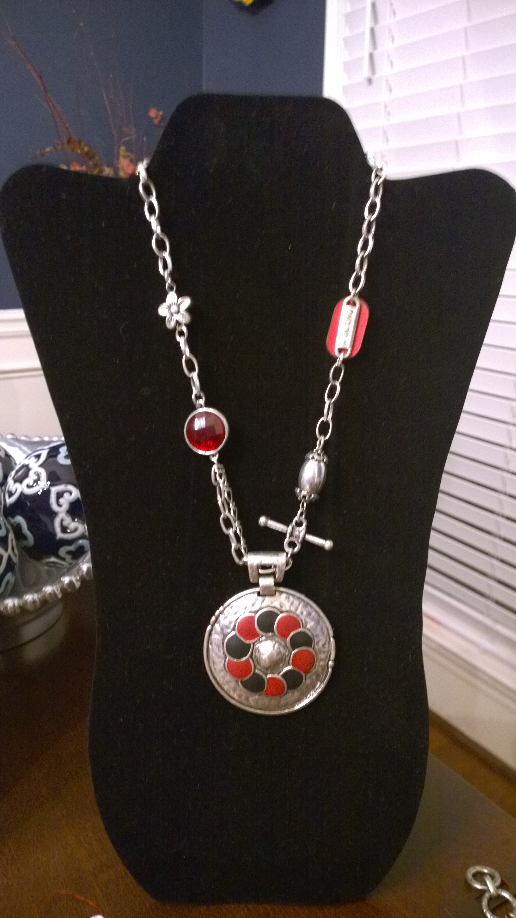 Crystal and Leather Red and Black Necklace  1N10