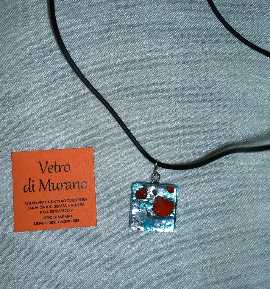 Small Light Blue and Red Murano 2N05