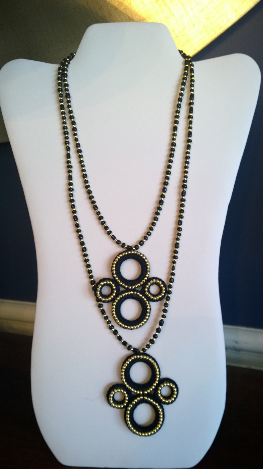 Black and Gold Long Necklace 3N 12