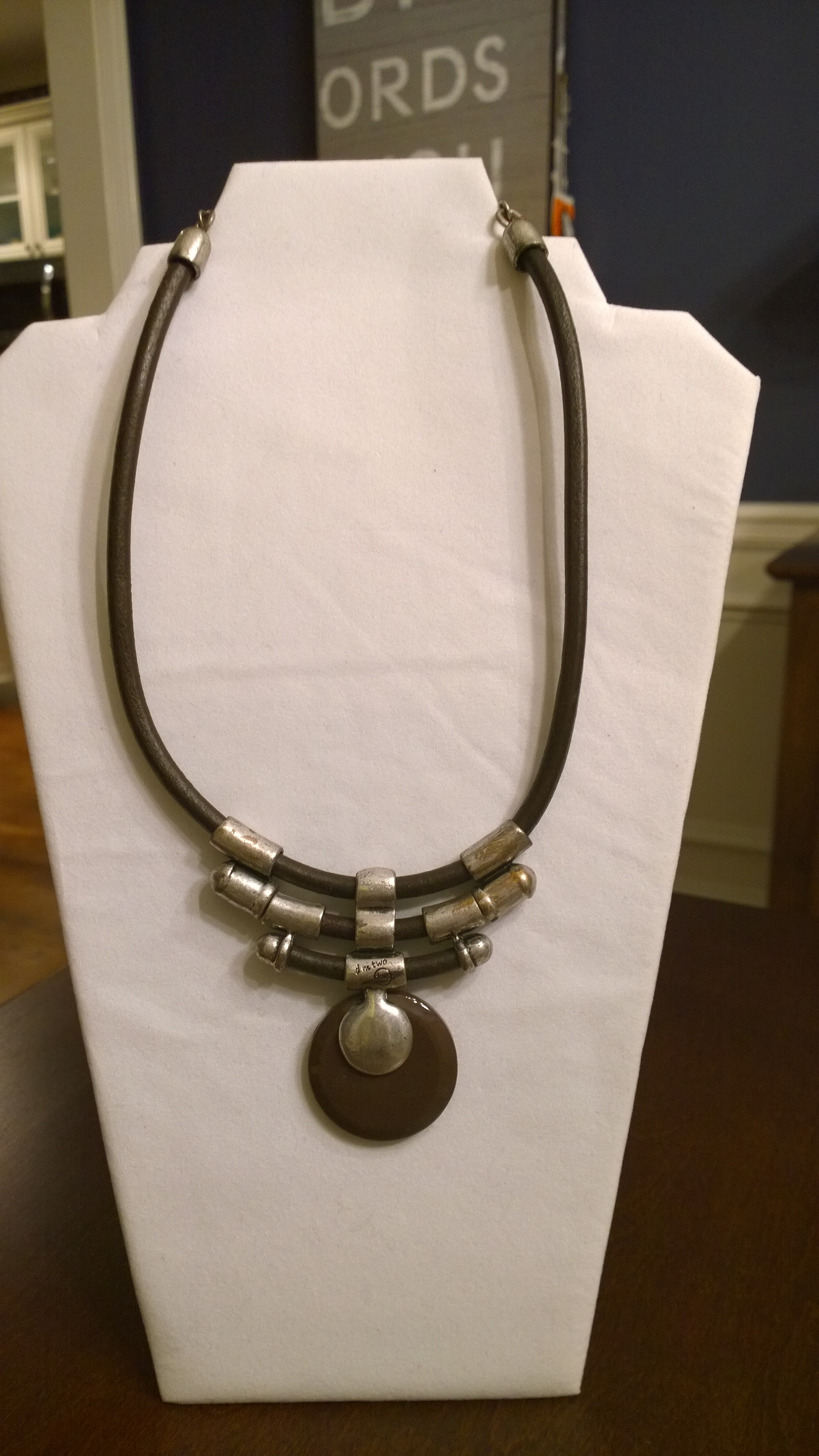 Stone and Leather Necklace 1N23