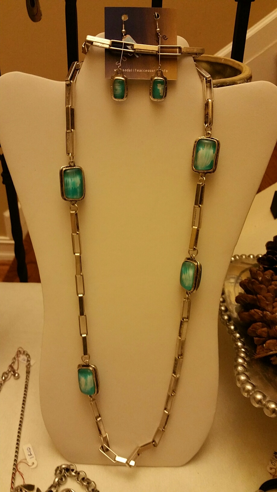Long Aqua Necklace 1N46 and Long Earrings 1EA47