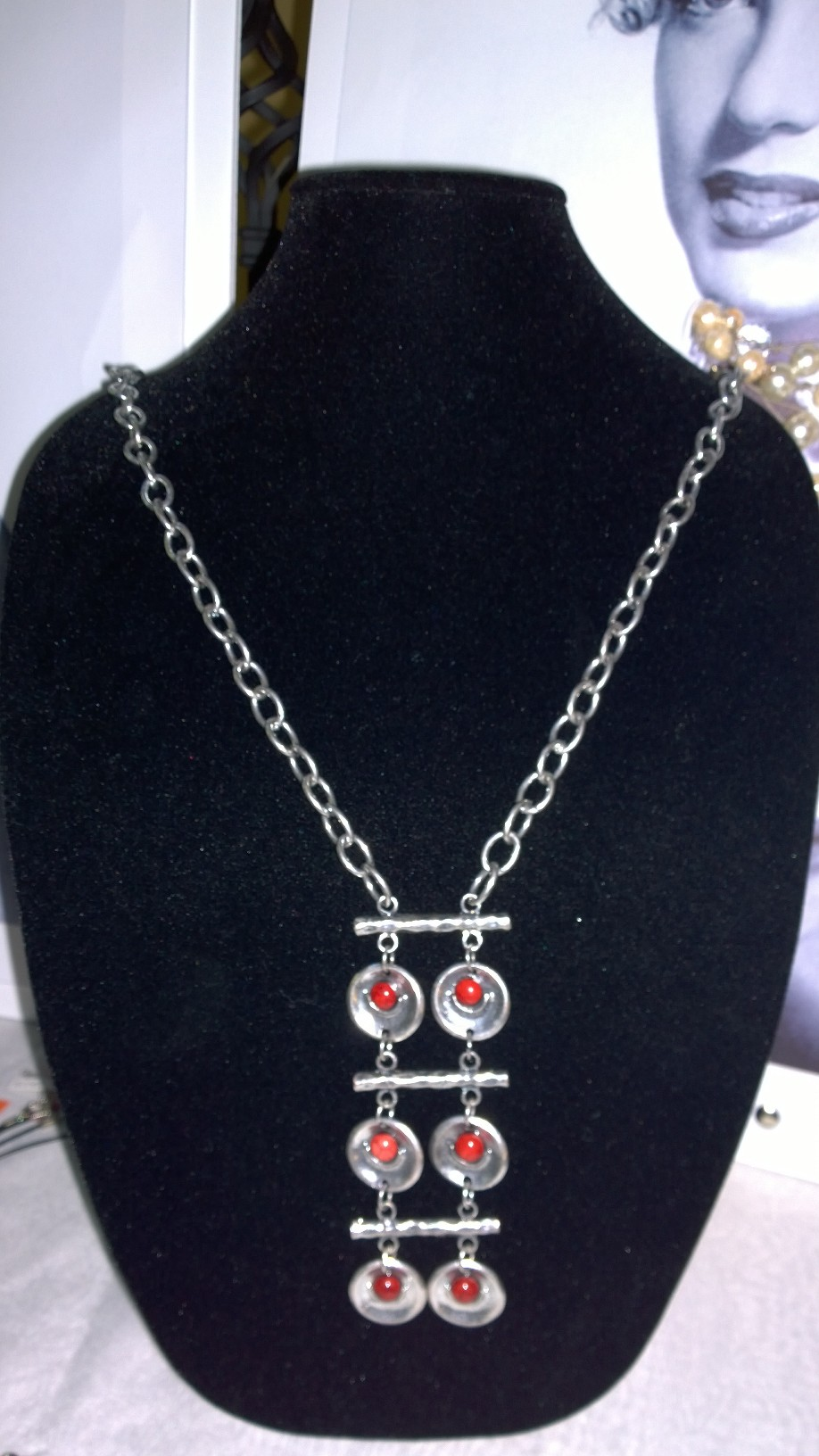 Red Six Peas Long Necklace 1N47