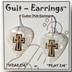 Guitar Pick Earrings - White Cross