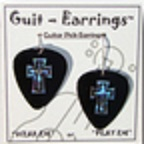 Guitar Pick Earrings - Black Cross
