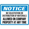 Notice- No Solicitation or Distribution of Material Allowed on Company Property At Any Time Decal