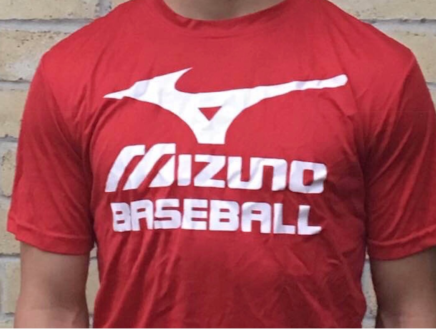 Red and White Mizuno Baseball USA Shirt