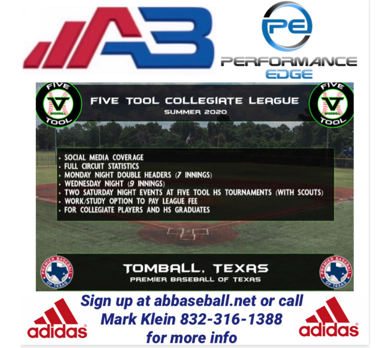 AB baseball / Performance Edge ---Five Tool Collegiate League ---Pitcher only Fee